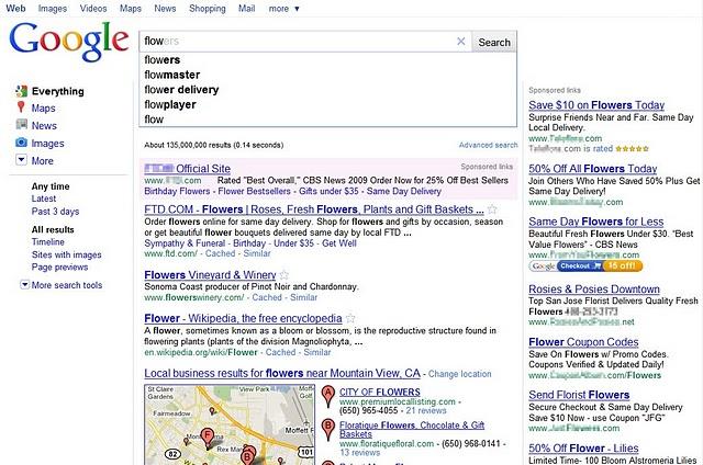 regardez comme le lien commercial ressort avec google Instant
