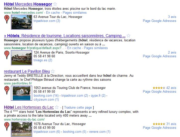 Nouvel affichage des r sultats locaux carte sur google for Recherche hotel