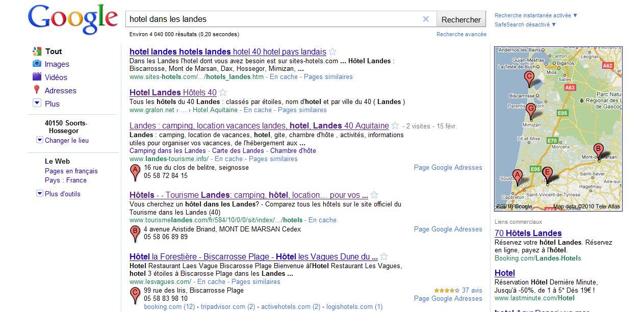 Nouvel affichage des r sultats locaux carte sur google for Recherche hotel sur carte
