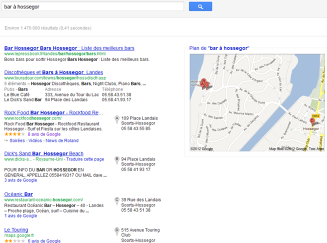 Recheche Google: Bar à Hossegor