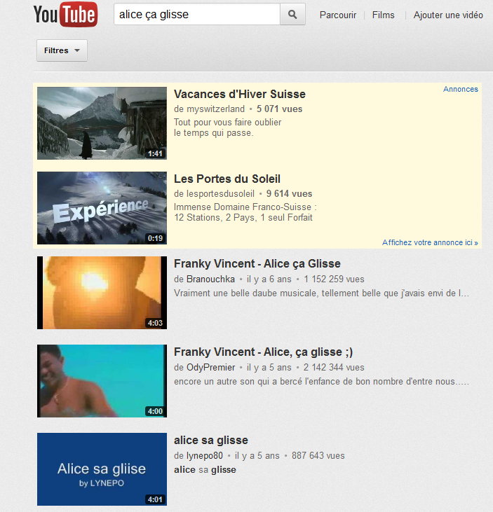 Publicité Youtube Format Insearch Mots clé Large