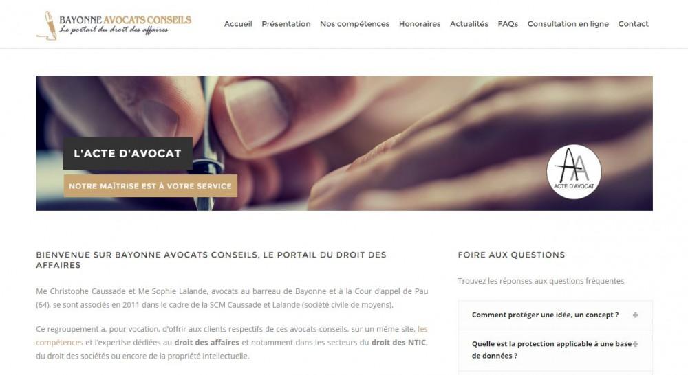Page d'accueil du site Bayonne Avocats Conseils
