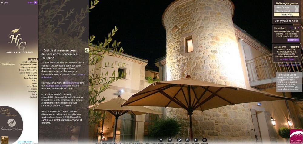 la page d'accueil du site de l'hôtel Lous Grits dans le Gers