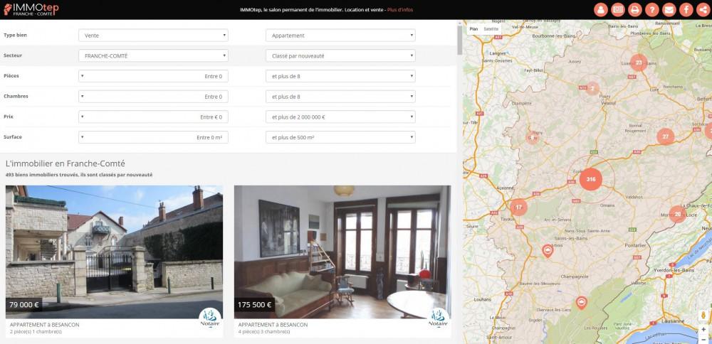 Le site Immotep, spécialiste de l'immobilier en Franche Comté