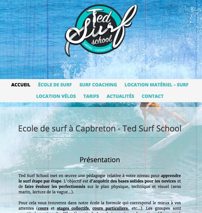 Ted surf school, école de surf à Capbreton : cours, stages, individuels et collectifs pour adultes, ados et enfants